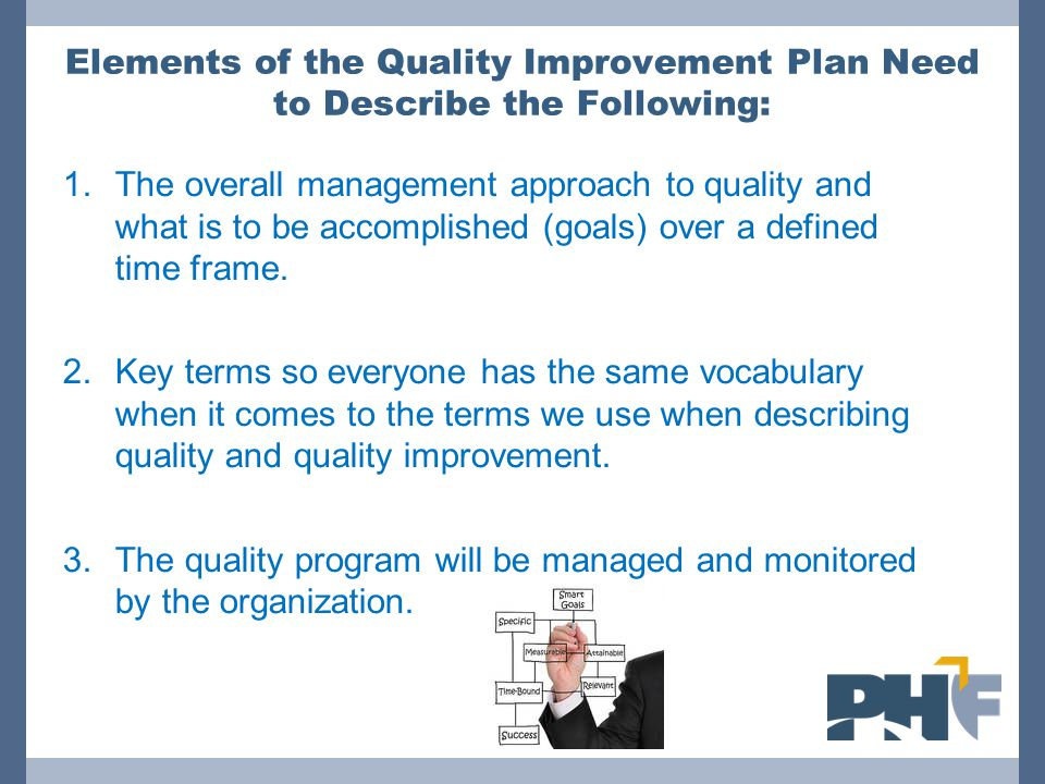 Elements of the Quality Improvement Plan Need to Describe the Following: