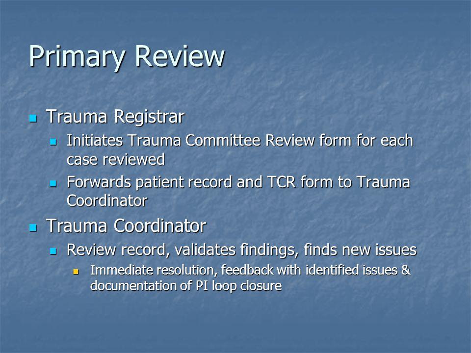 Primary Review Trauma Registrar Trauma Coordinator