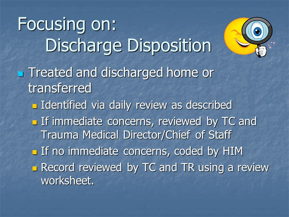 Focusing on: Discharge Disposition
