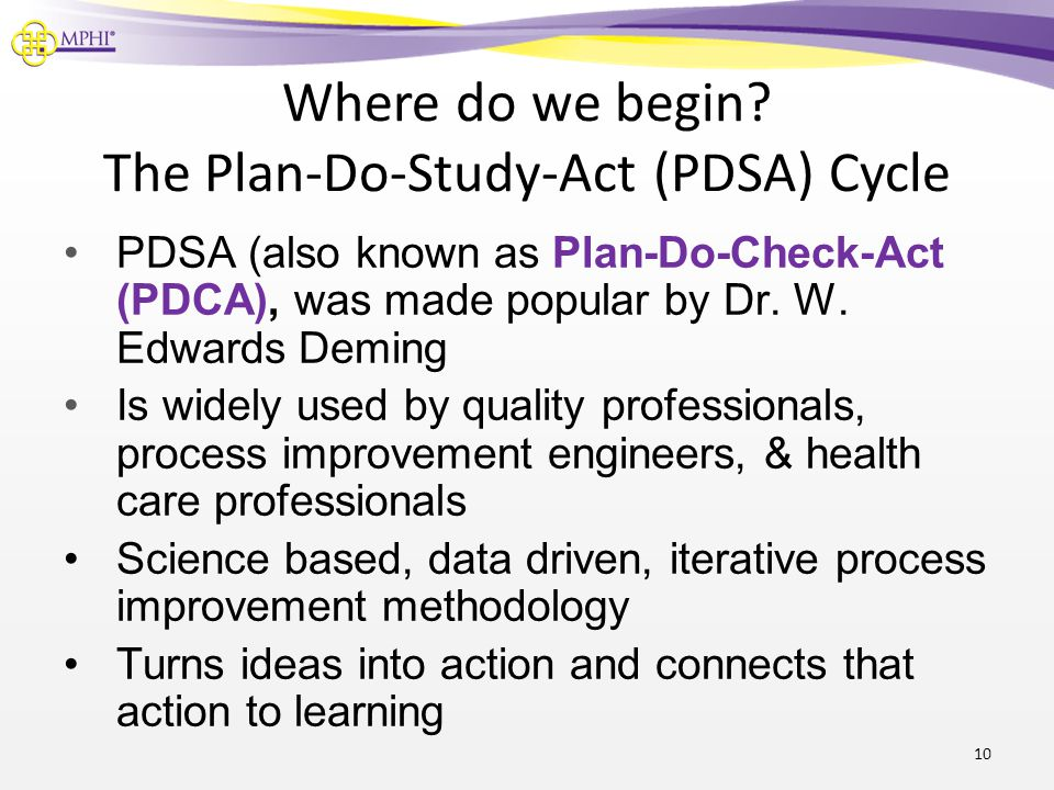 Where do we begin The Plan-Do-Study-Act (PDSA) Cycle