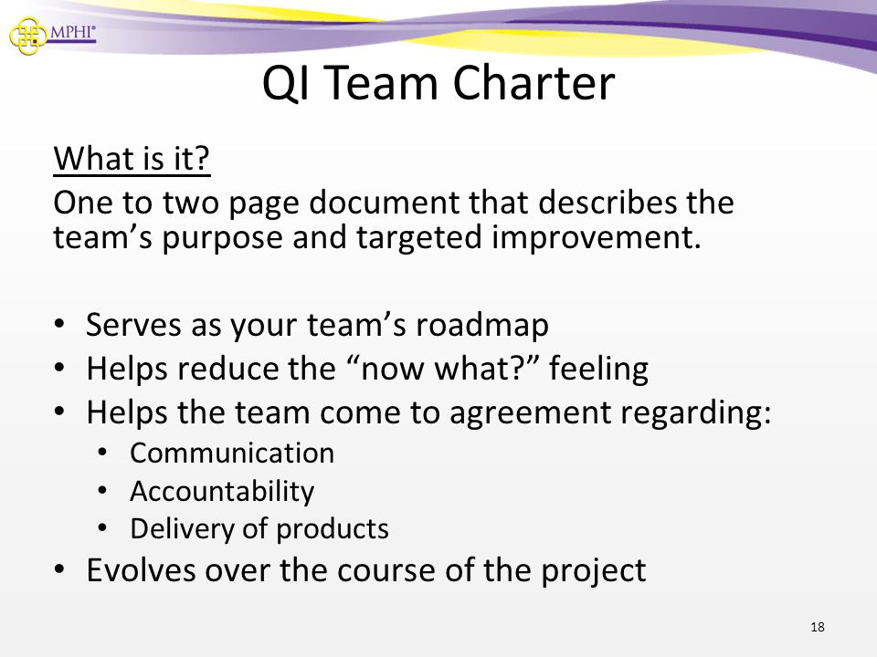 QI Team Charter What is it