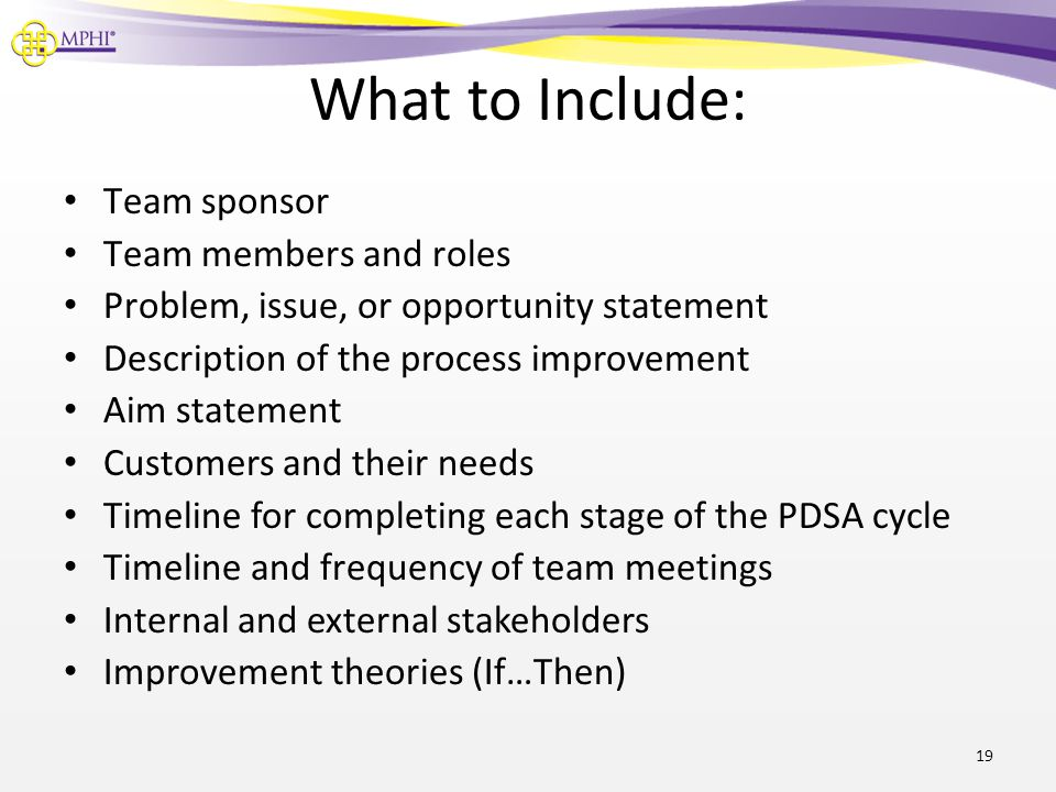 What to Include: Team sponsor Team members and roles