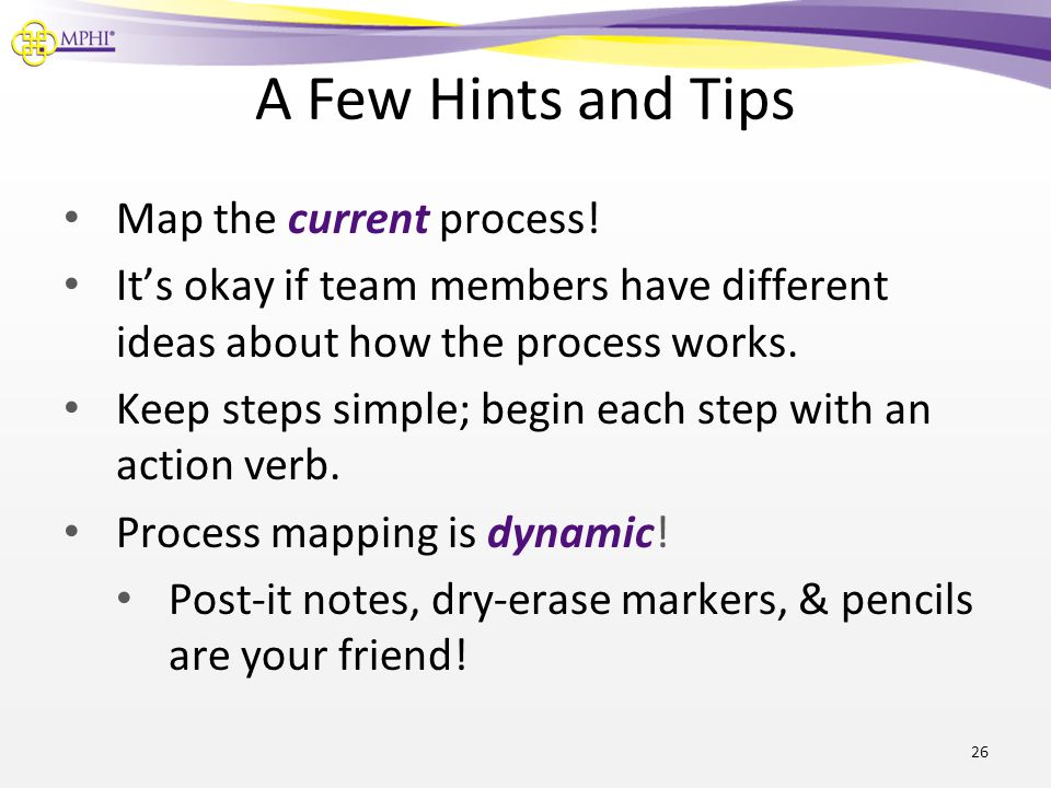 A Few Hints and Tips Map the current process!