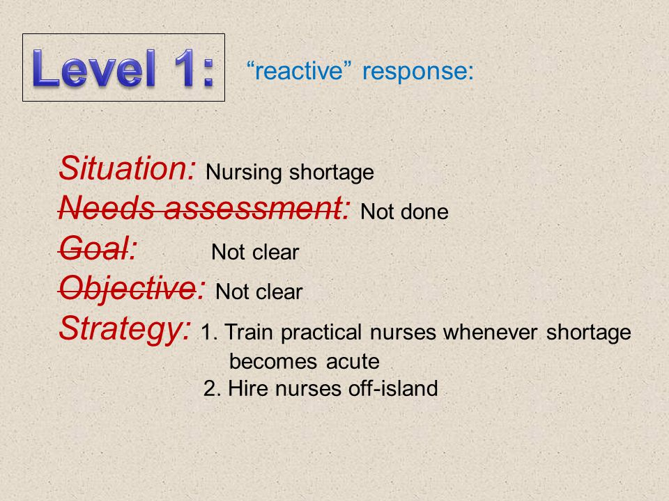 Level 1: Situation: Nursing shortage Needs assessment: Not done