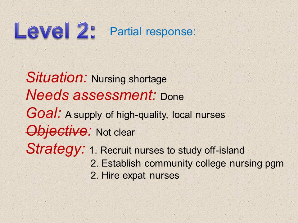 Level 2: Situation: Nursing shortage Needs assessment: Done