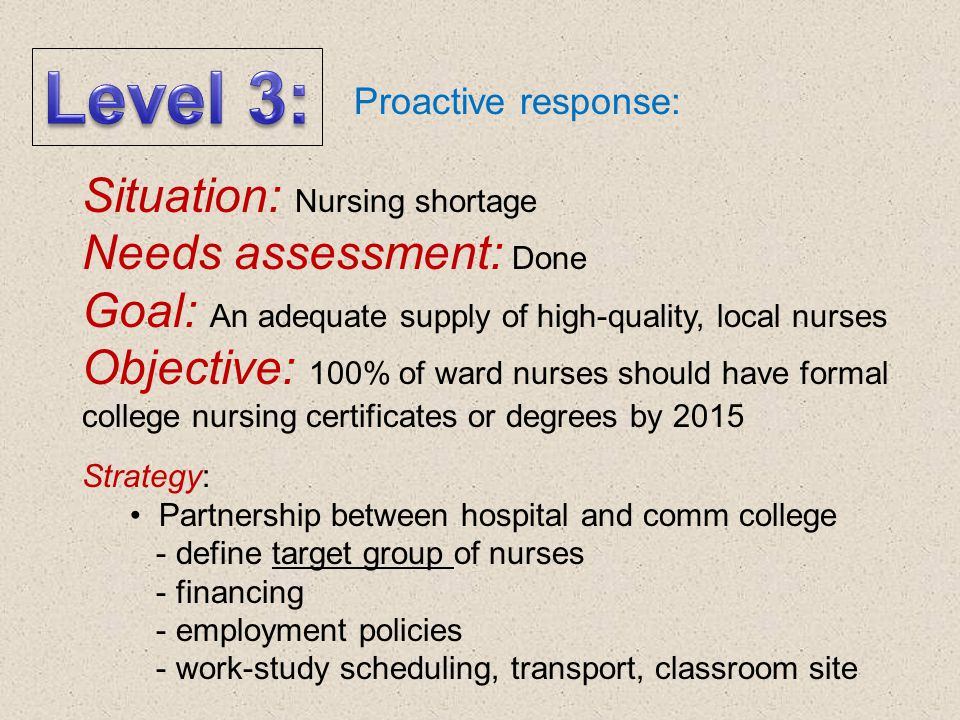 Level 3: Situation: Nursing shortage Needs assessment: Done