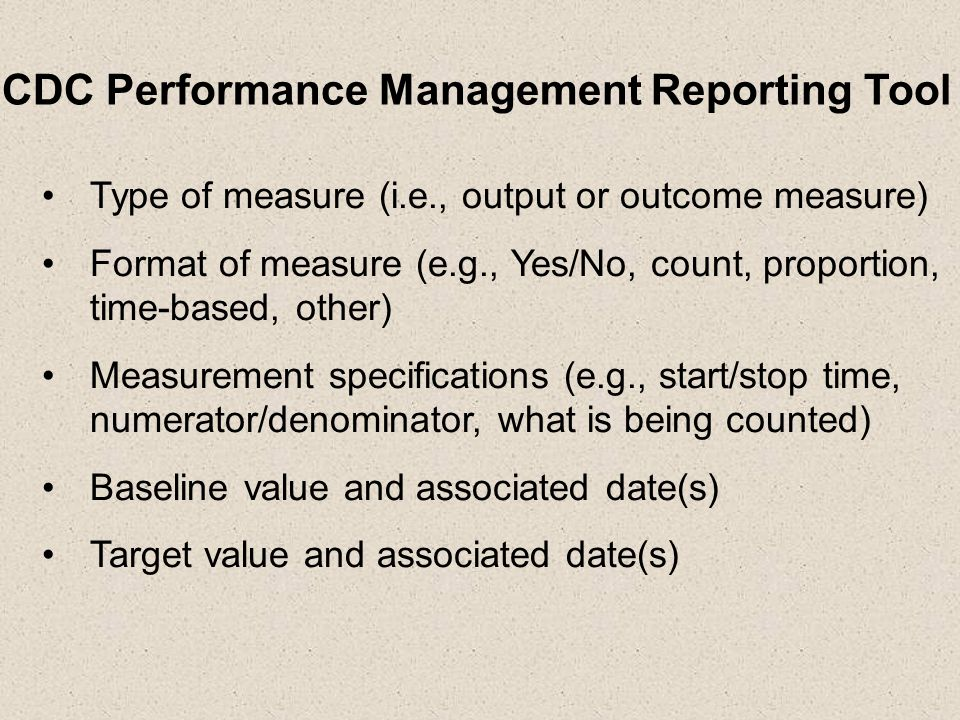 CDC Performance Management Reporting Tool