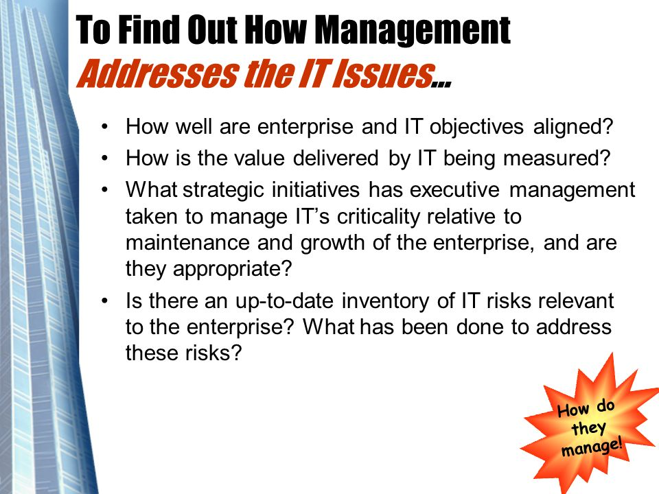 To Find Out How Management Addresses the IT Issues…