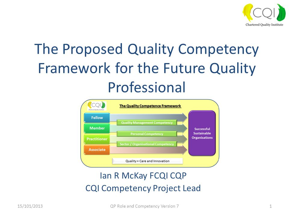 Ian R McKay FCQI CQP CQI Competency Project Lead