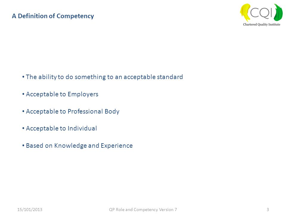 QP Role and Competency Version 7