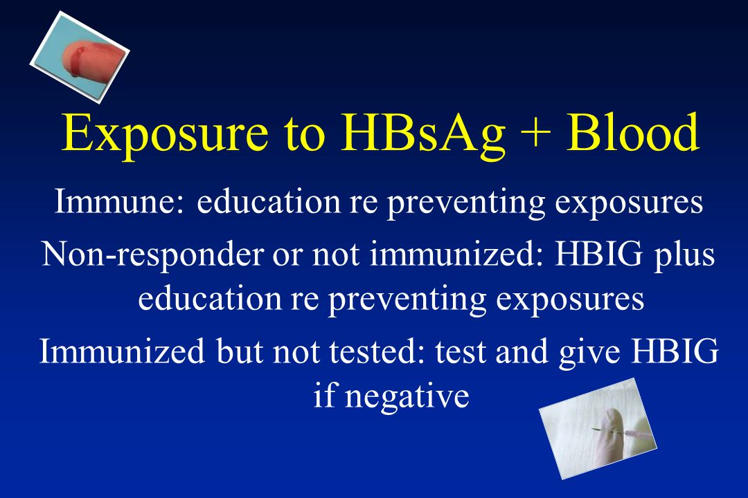 Exposure to HBsAg + Blood
