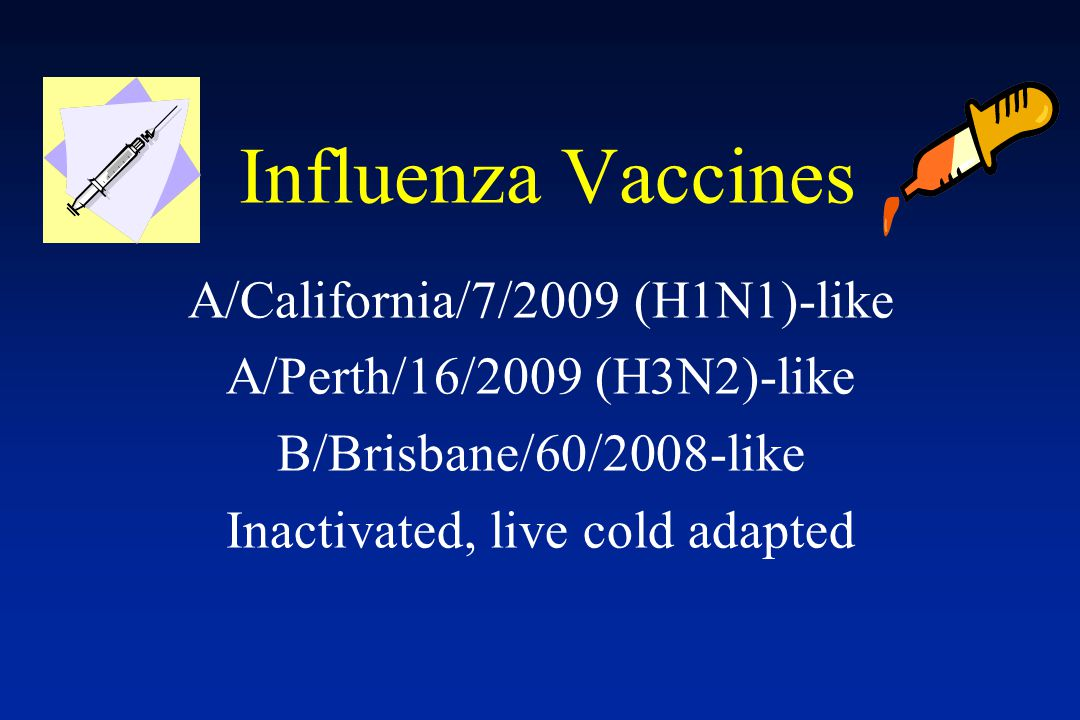Influenza Vaccines A/California/7/2009 (H1N1)-like