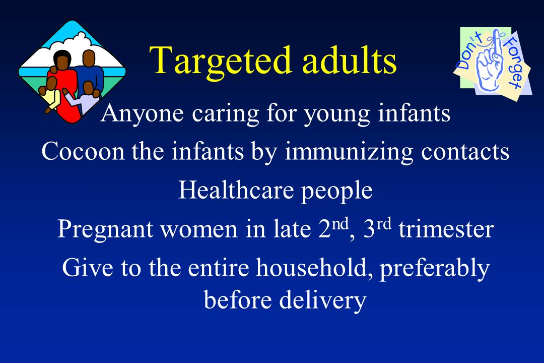 Targeted adults Anyone caring for young infants