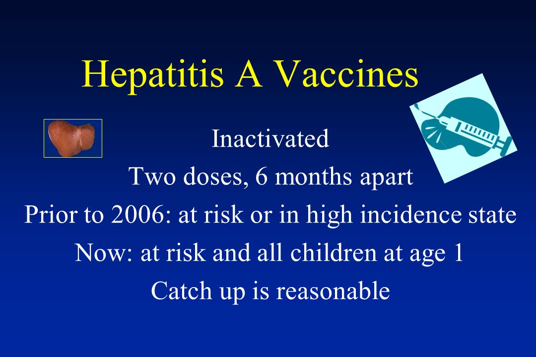 Hepatitis A Vaccines Inactivated Two doses, 6 months apart