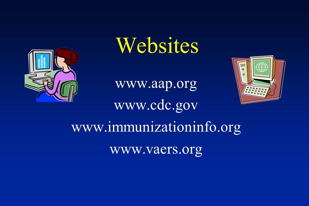 Websites www.aap.org www.cdc.gov www.immunizationinfo.org