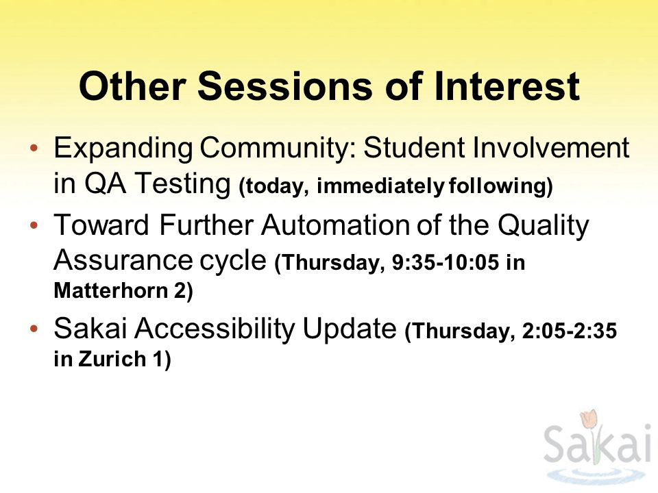 Other Sessions of Interest