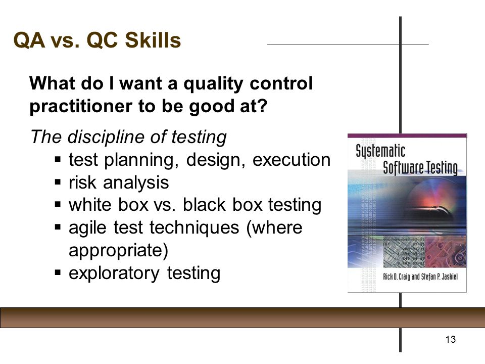 QA vs. QC Skills What do I want a quality control practitioner to be good at The discipline of testing.