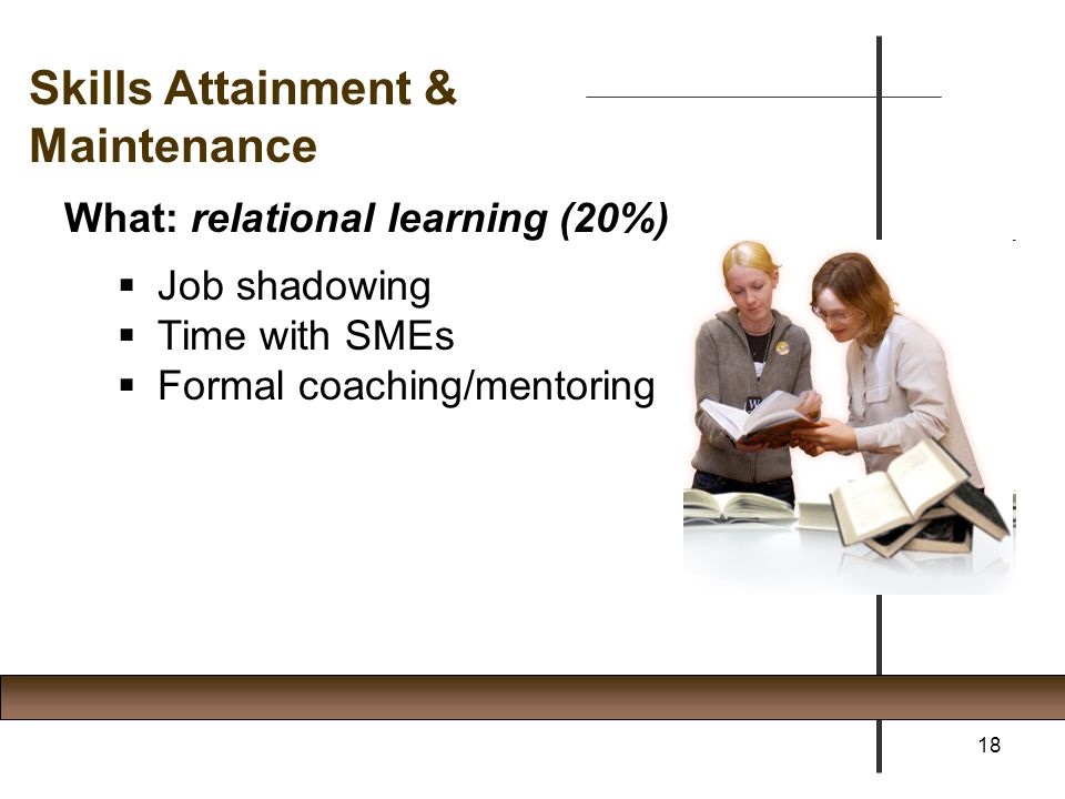 Skills Attainment & Maintenance What: relational learning (20%)