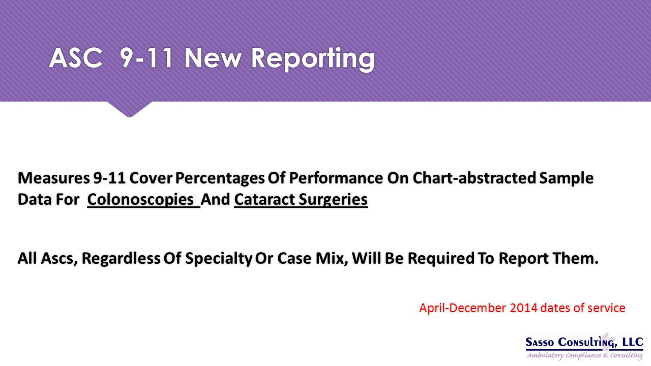 ASC 9-11 New Reporting Measures 9-11 Cover Percentages Of Performance On Chart-abstracted Sample Data For Colonoscopies And Cataract Surgeries.