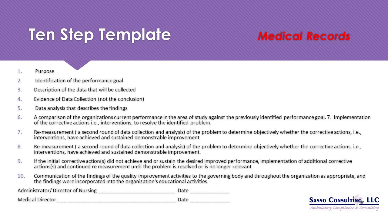 Ten Step Template Medical Records