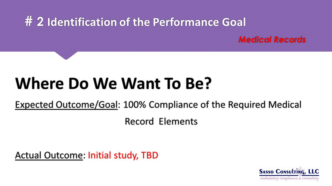 # 2 Identification of the Performance Goal Medical Records