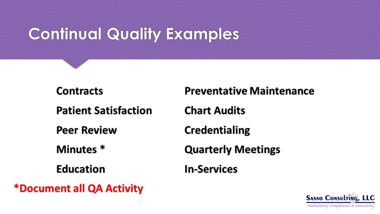 Continual Quality Examples