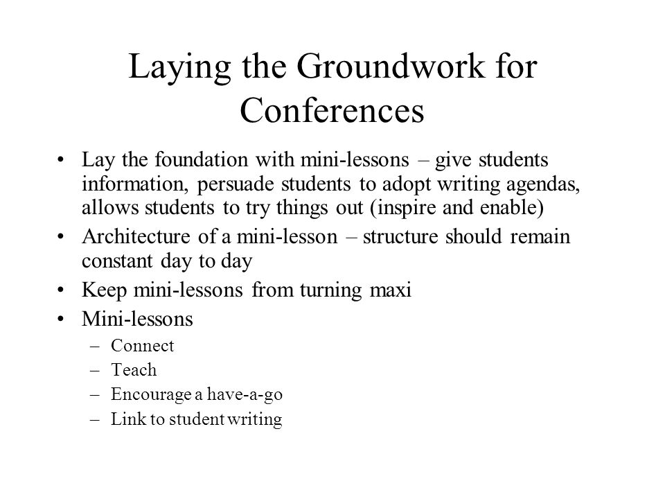 Laying the Groundwork for Conferences