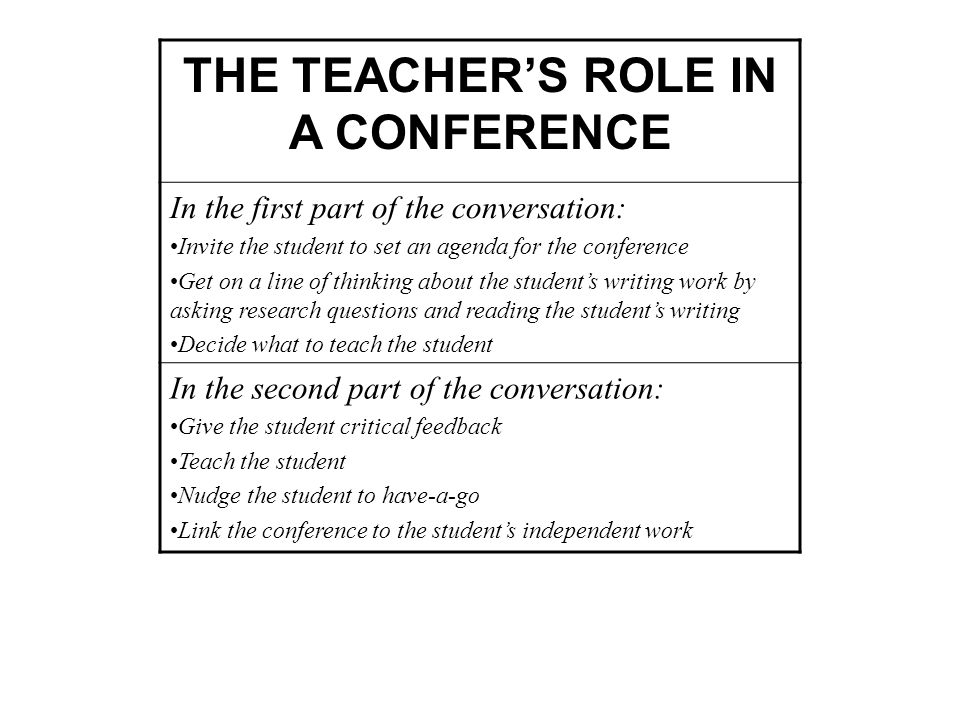 THE TEACHER'S ROLE IN A CONFERENCE