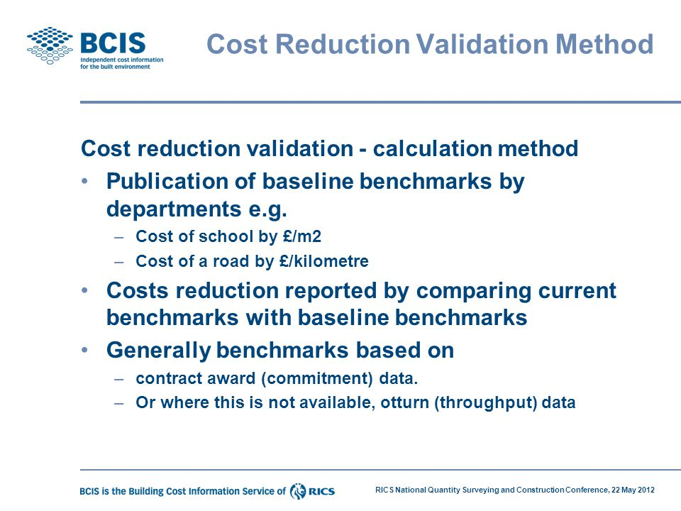 Cost Reduction Validation Method