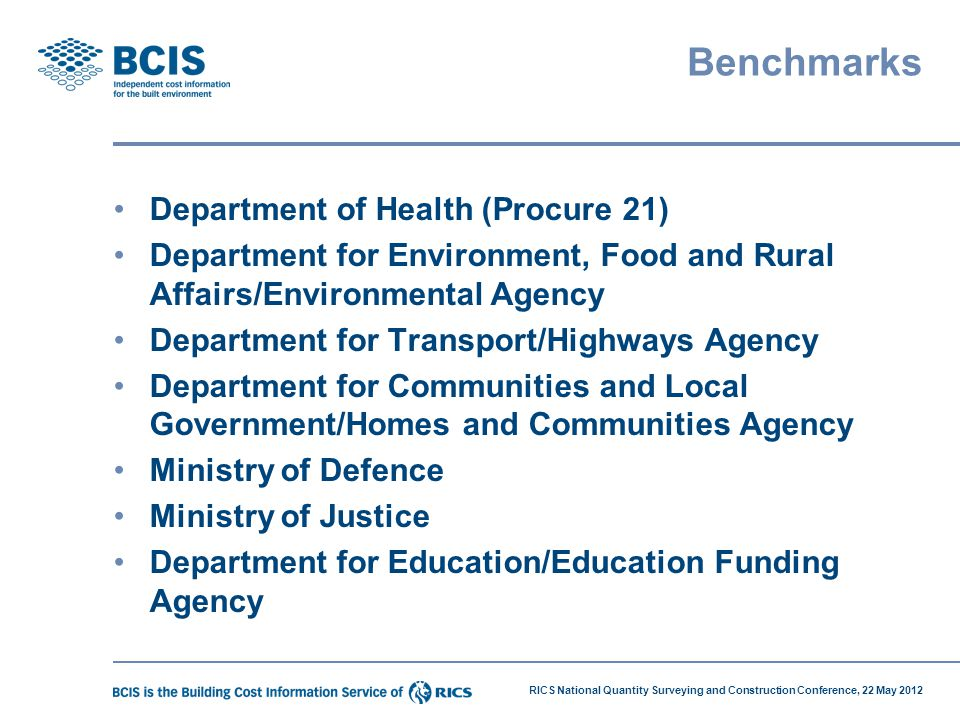 Benchmarks Department of Health (Procure 21)