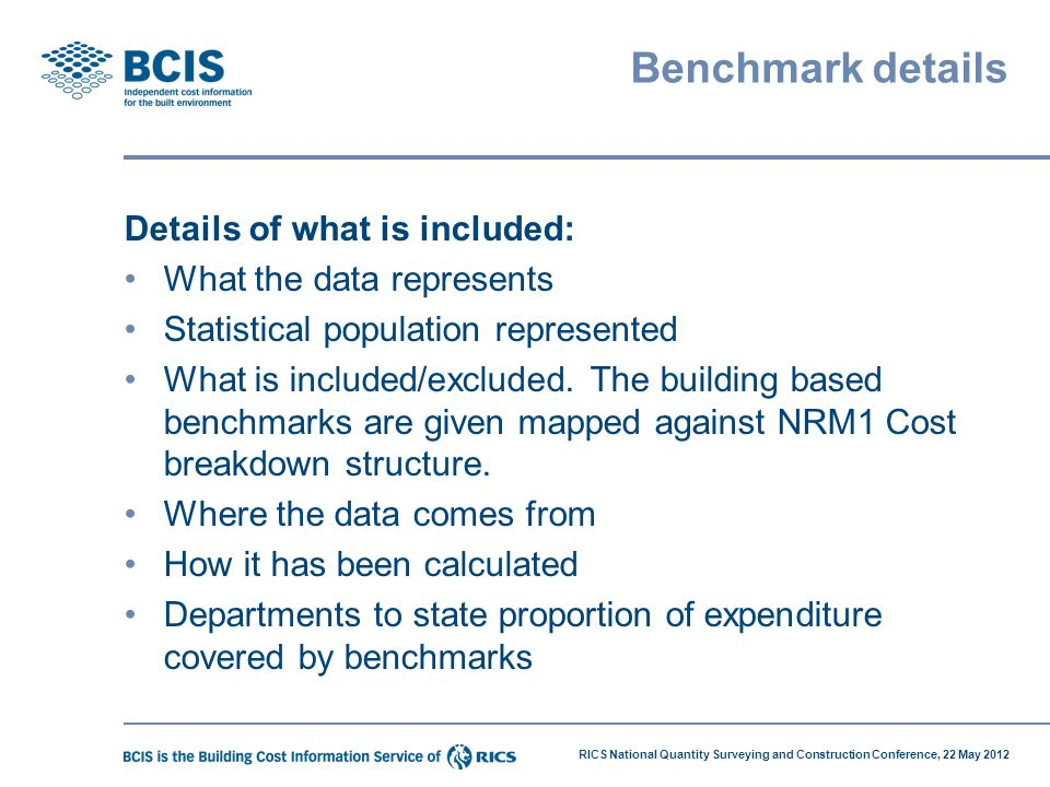 Benchmark details Details of what is included: