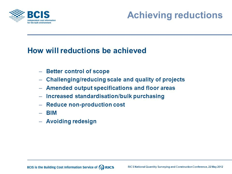 Achieving reductions How will reductions be achieved
