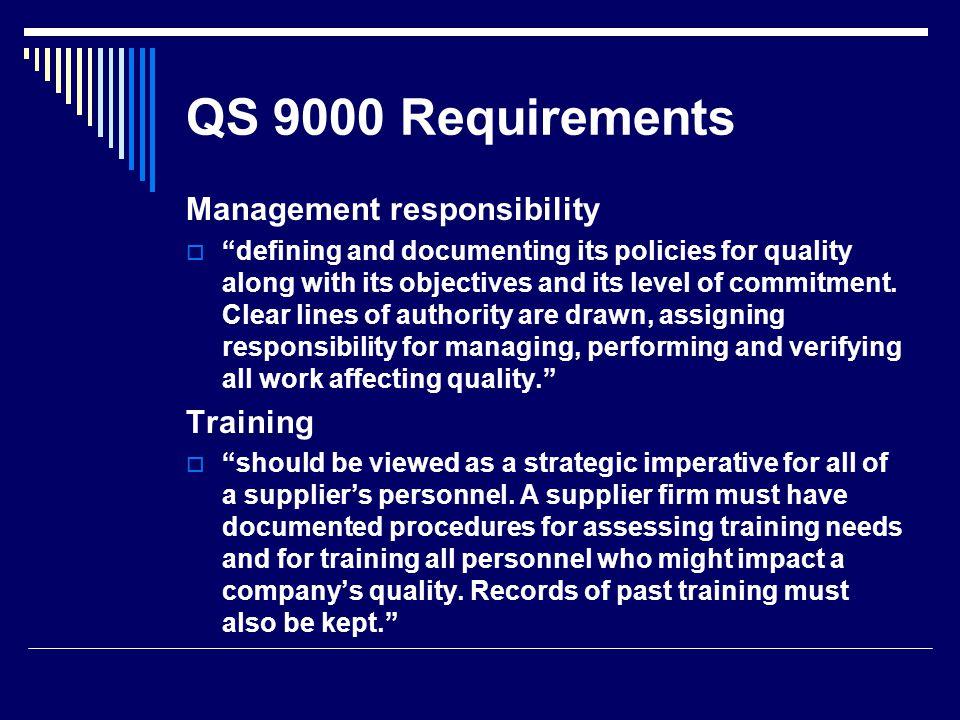 QS 9000 Requirements Management responsibility Training