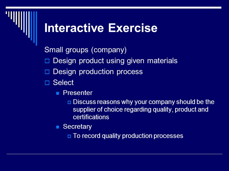 Interactive Exercise Small groups (company)