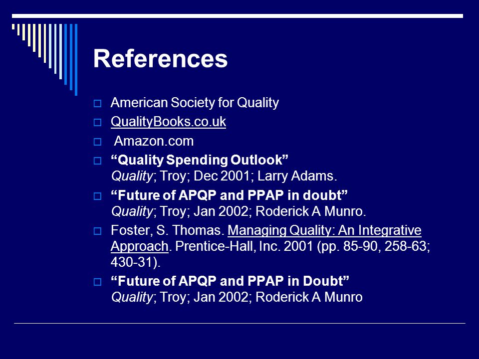 References American Society for Quality QualityBooks.co.uk Amazon.com