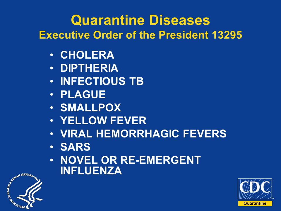 Quarantine Diseases Executive Order of the President 13295
