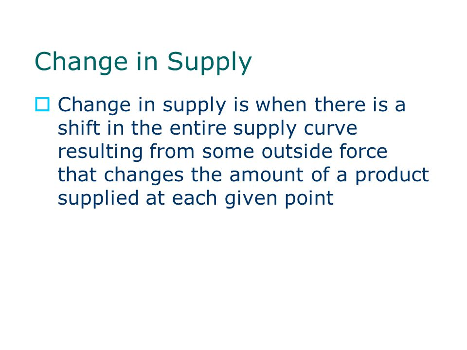 Change in Supply
