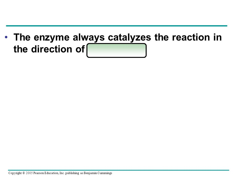 The enzyme always catalyzes the reaction in the direction of equilibrium.