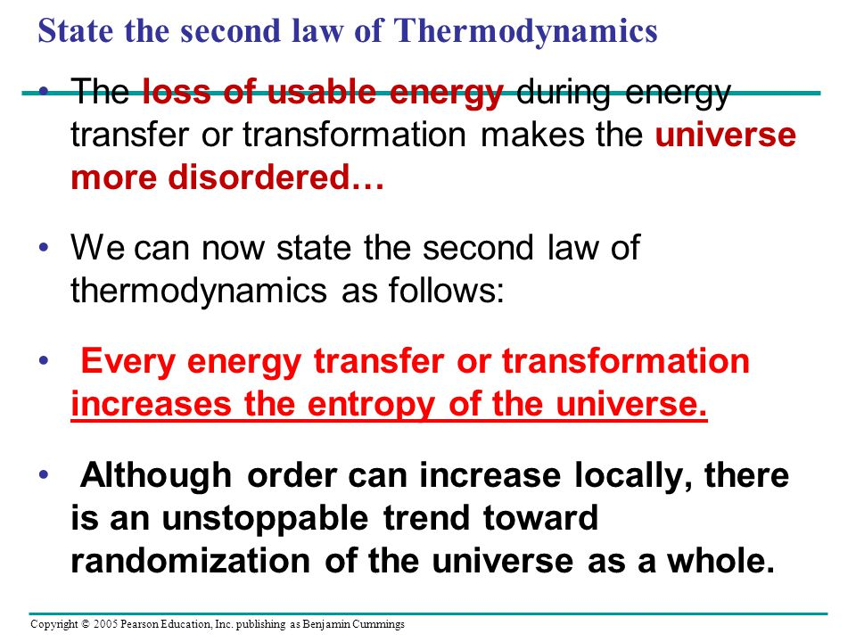 State the second law of Thermodynamics