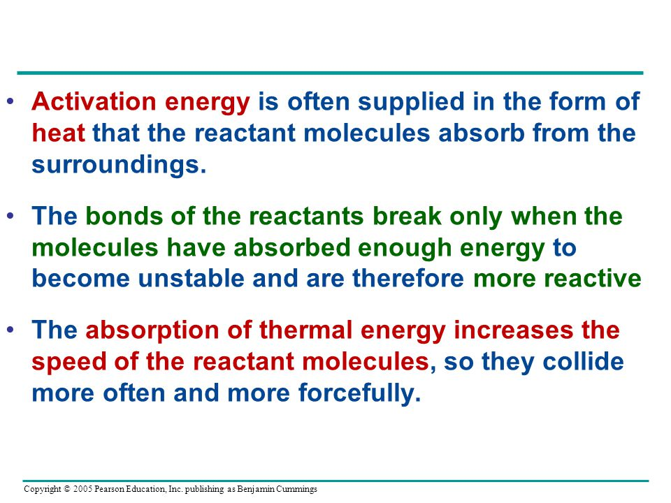 Activation energy is often supplied in the form of heat that the reactant molecules absorb from the surroundings.