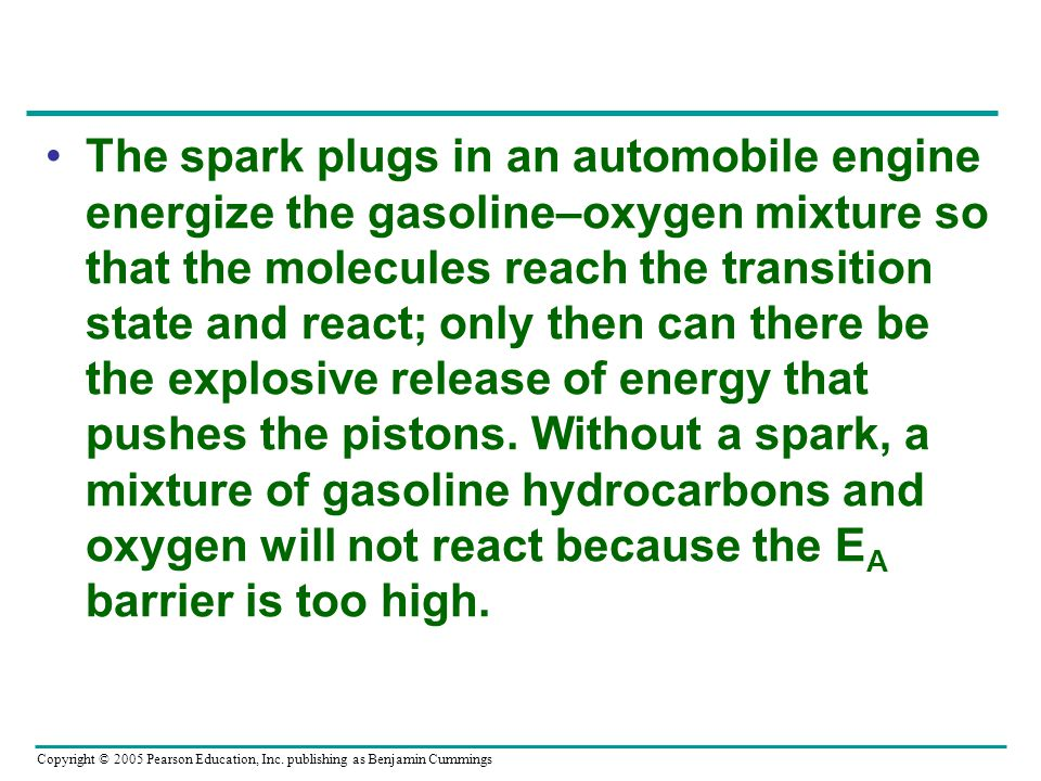 The spark plugs in an automobile engine energize the gasoline–oxygen mixture so that the molecules reach the transition state and react; only then can there be the explosive release of energy that pushes the pistons.