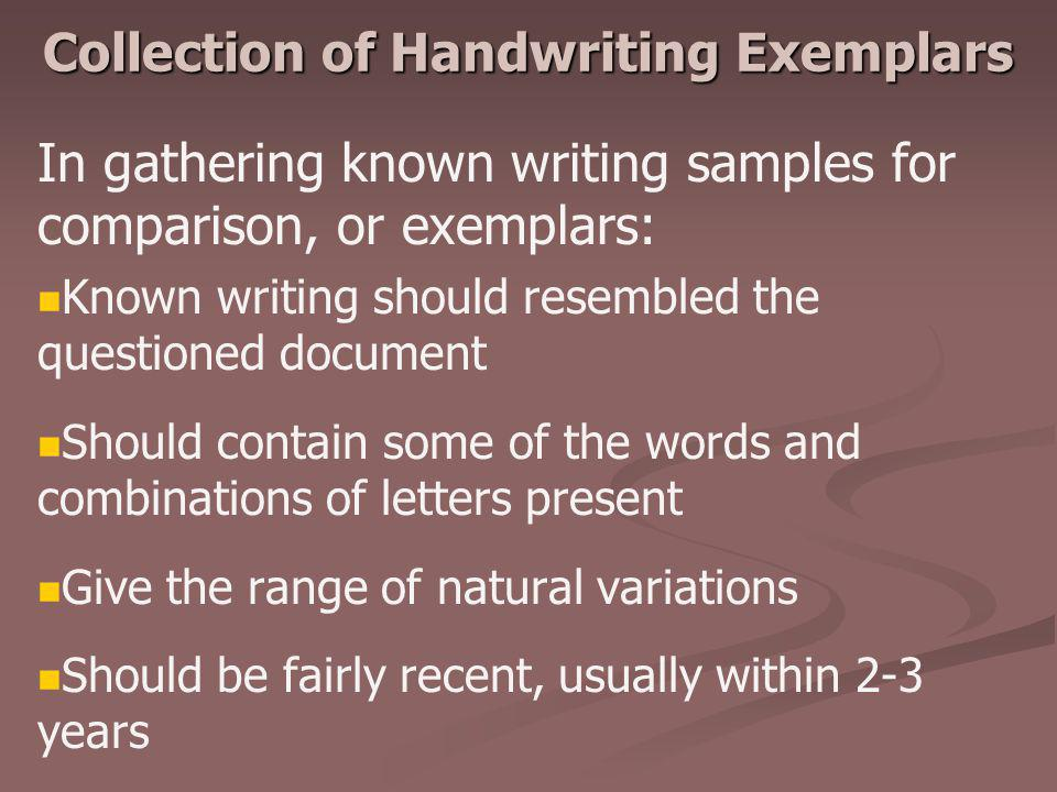 Collection of Handwriting Exemplars
