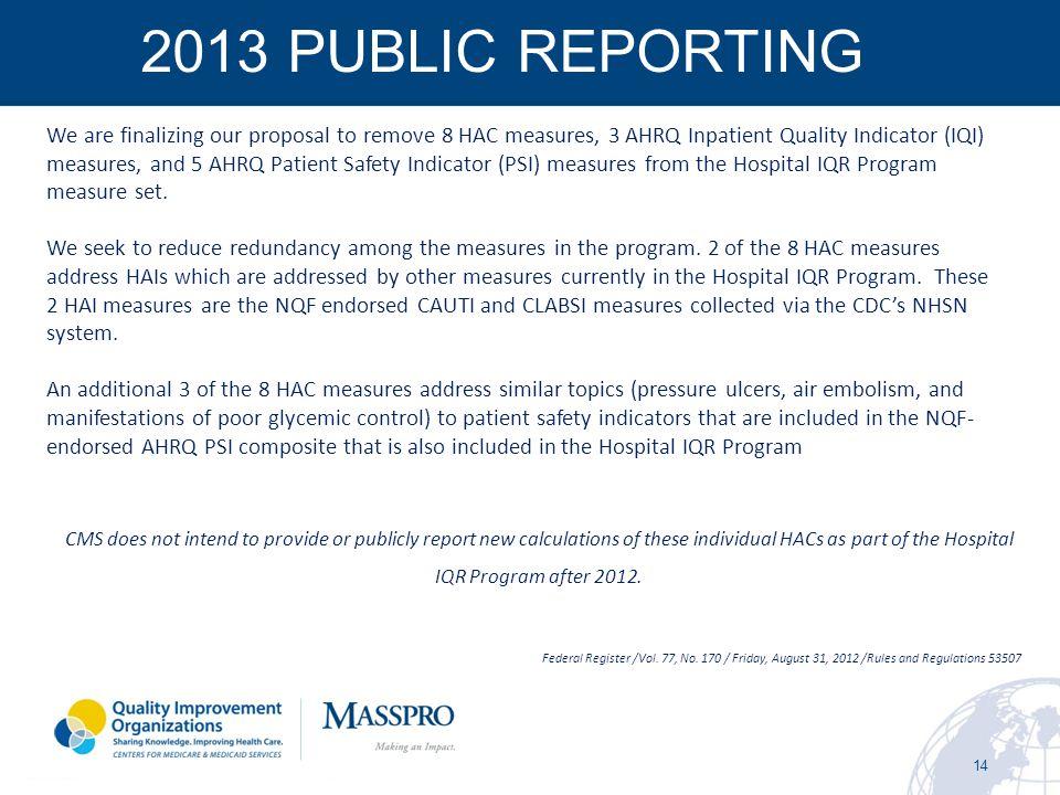 2013 PUBLIC REPORTING
