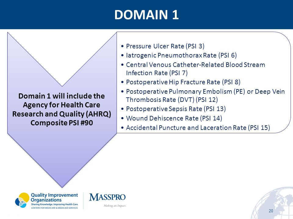 DOMAIN 1 Domain 1 will include the Agency for Health Care Research and Quality (AHRQ) Composite PSI #90.