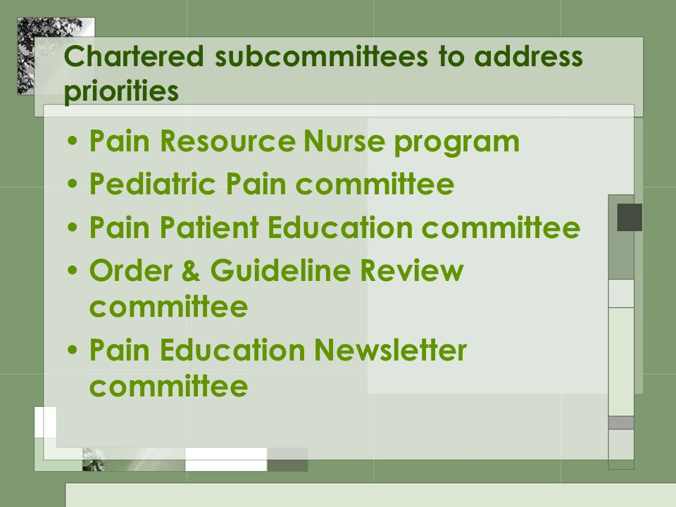 Chartered subcommittees to address priorities