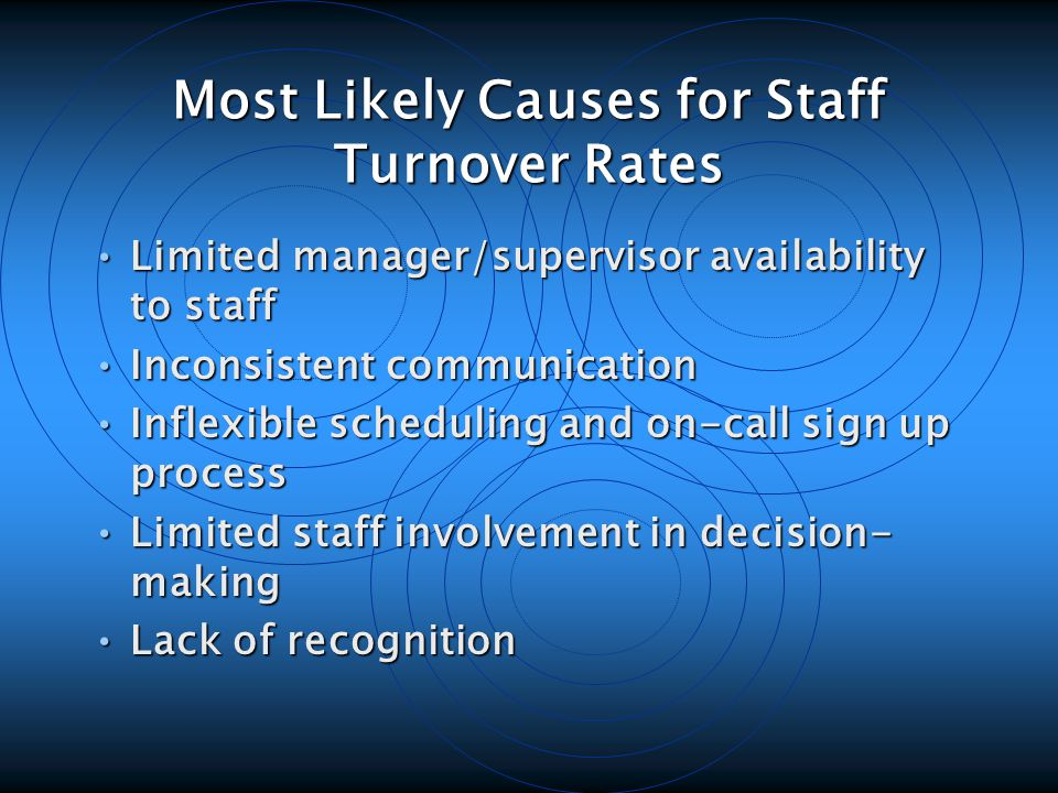 Most Likely Causes for Staff Turnover Rates