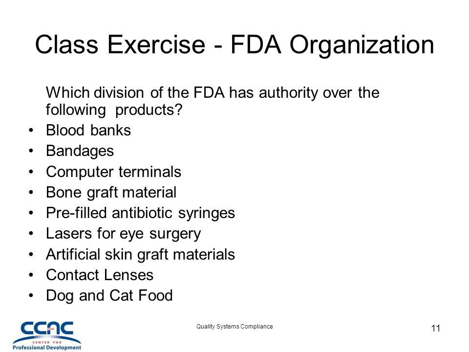Class Exercise - FDA Organization