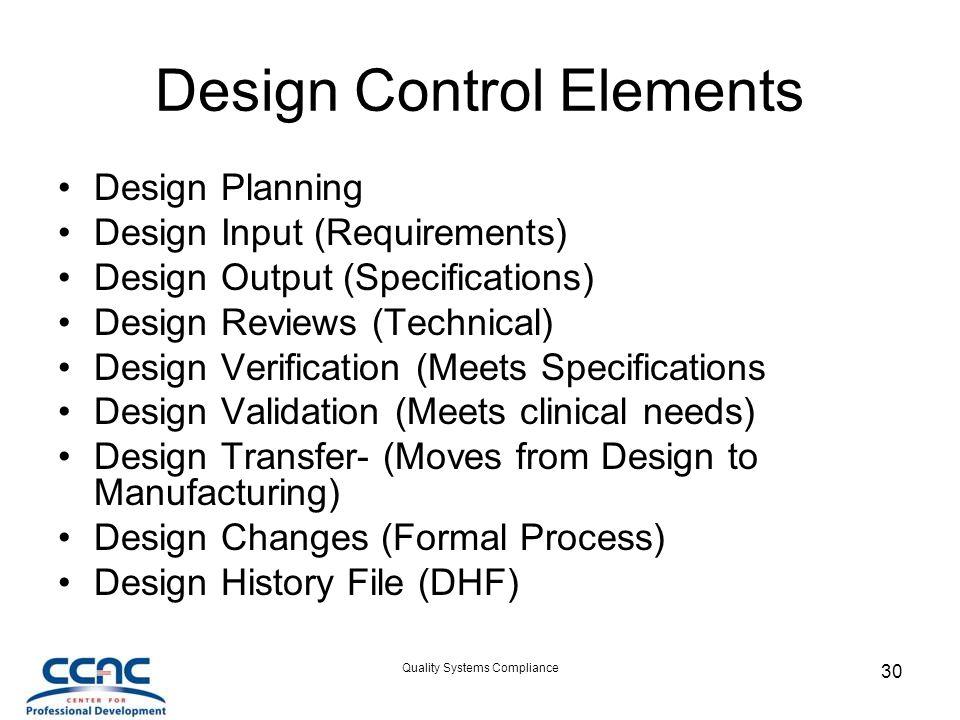 Design Control Elements