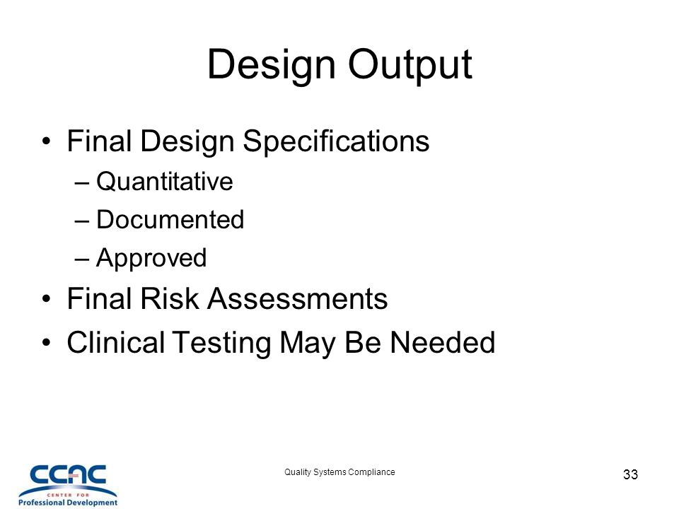 CCAC Quality System Basic Course
