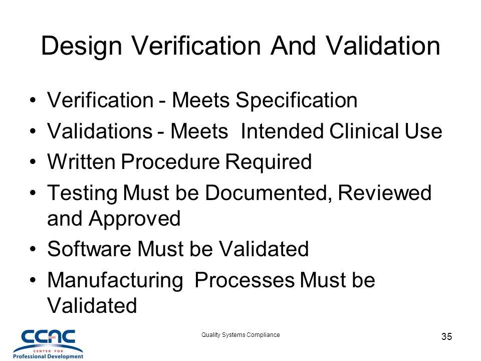 Design Verification And Validation